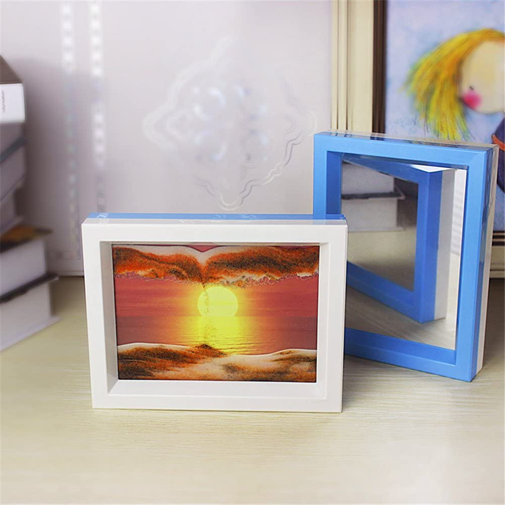 Queenie® Framed Sand Art Dynamic Moving Sand Picture Sun Rising Scenery Hourglass Desktop Art with Beauty Mirror