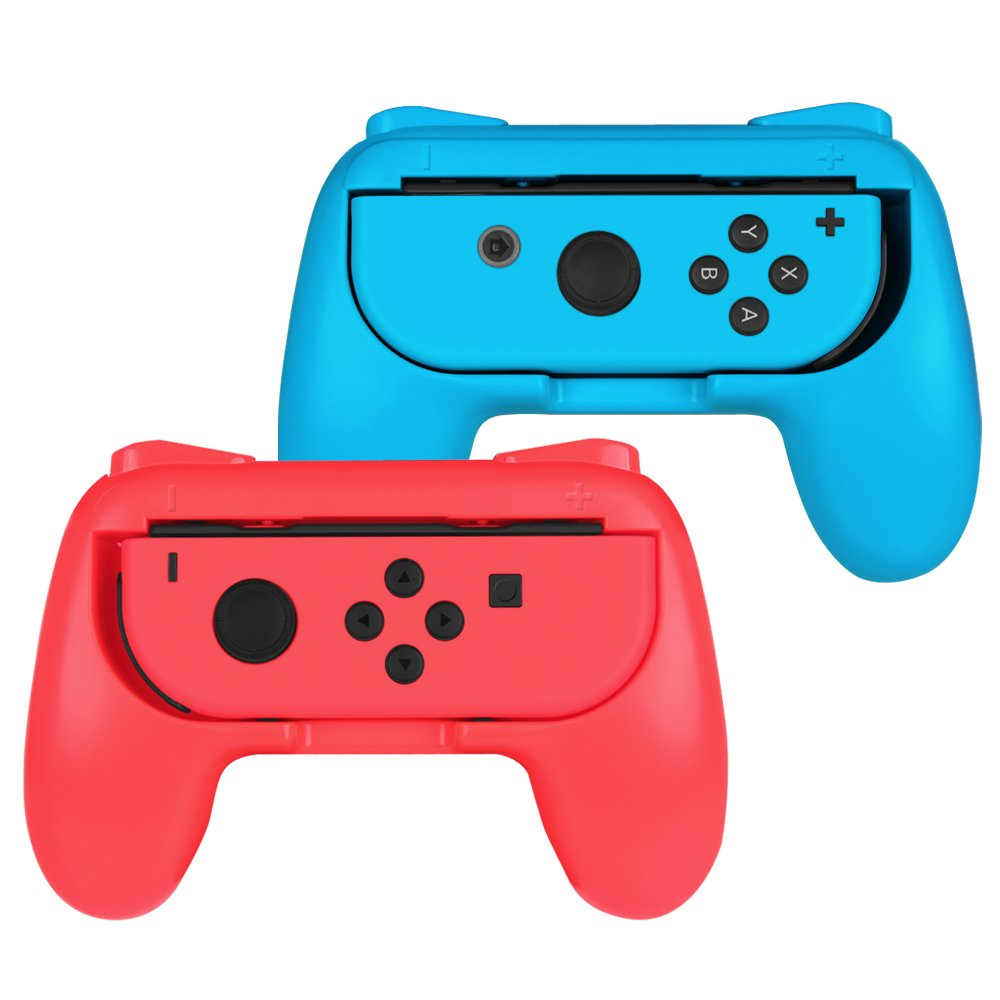 Nintendo Switch Joy-Con Grip, Fintie [Ergonomic Design] Wear-Resistant Comfort Game Controller Handle Kit for Nintendo Switch Joy Con (2-Pack), Blue Red