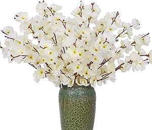 FENGRUIL 4 Pcs Artificial Peach Flowers, 23.5'' Long Stem Silk Flowers Arrangements Bouquet for Desktop Floor Centerpiece Home Party Bridal Wedding Decoration (White)