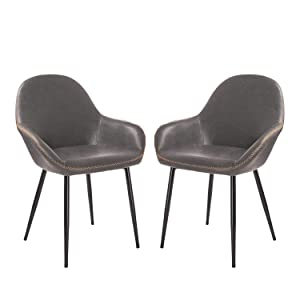 Glitzhome Mid Century Dining Room Chairs with Arm Metal Leatherette Seat Living Room Chair Modern Kitchen Furniture Set of 2, Dark Grey#2