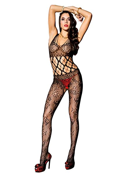 d4d30263e44 MUSIC LEGS Women s Shredded Strap Floral Crotchless Bodystocking with  Bodice
