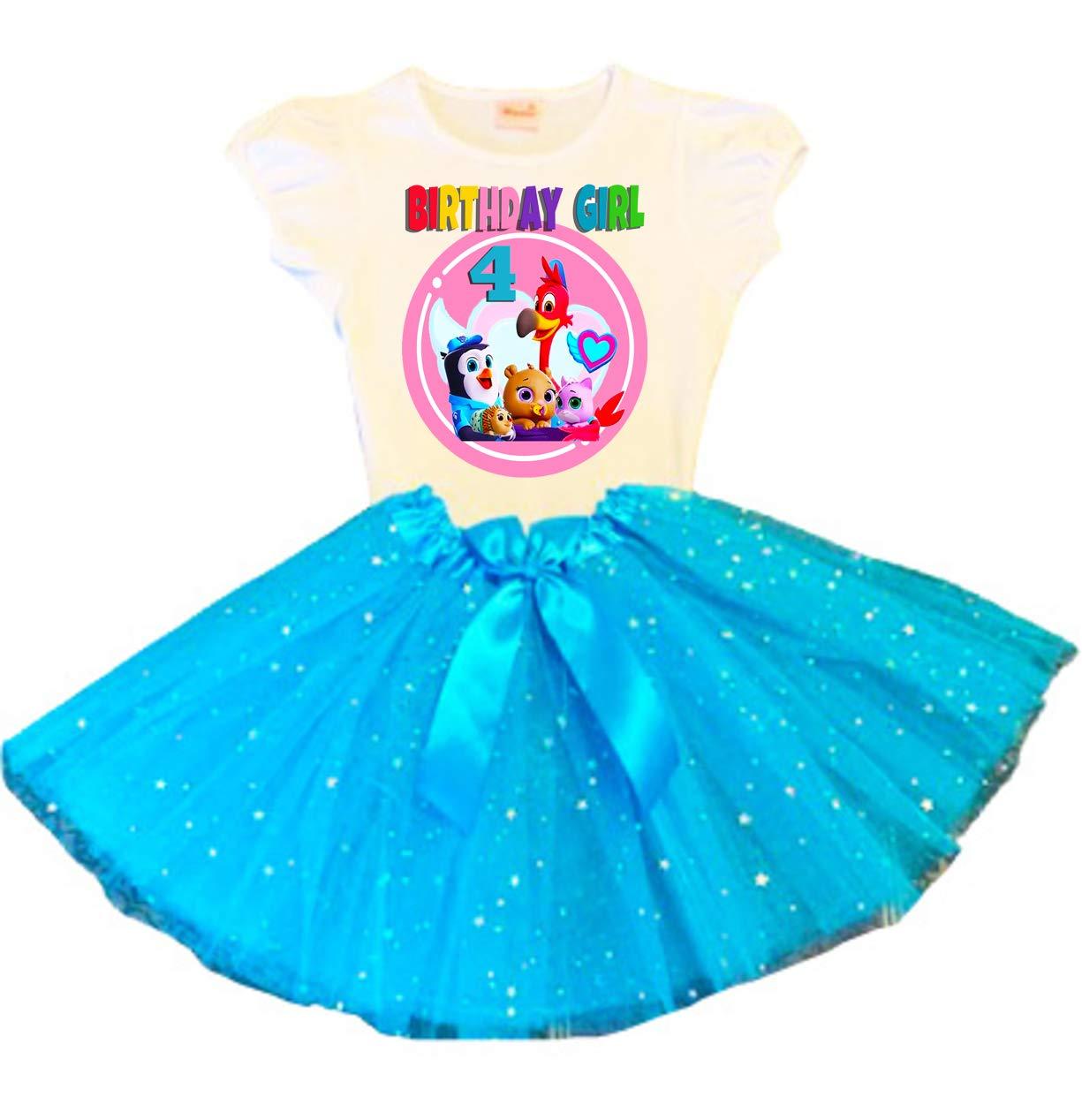 T.O.T.S Birthday Tutu 4th Birthday Party Dress Turquoise Tutu Outfit Shirt