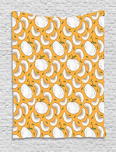 HouseLookHome Tangerine Tapestry, Vintage Continuous Pattern with Mandarins and Leaves, Wall Hanging for Bedroom Living Room Dorm, 60 W X 80 L Inches, Pale Orange Fern Green Redbrown White