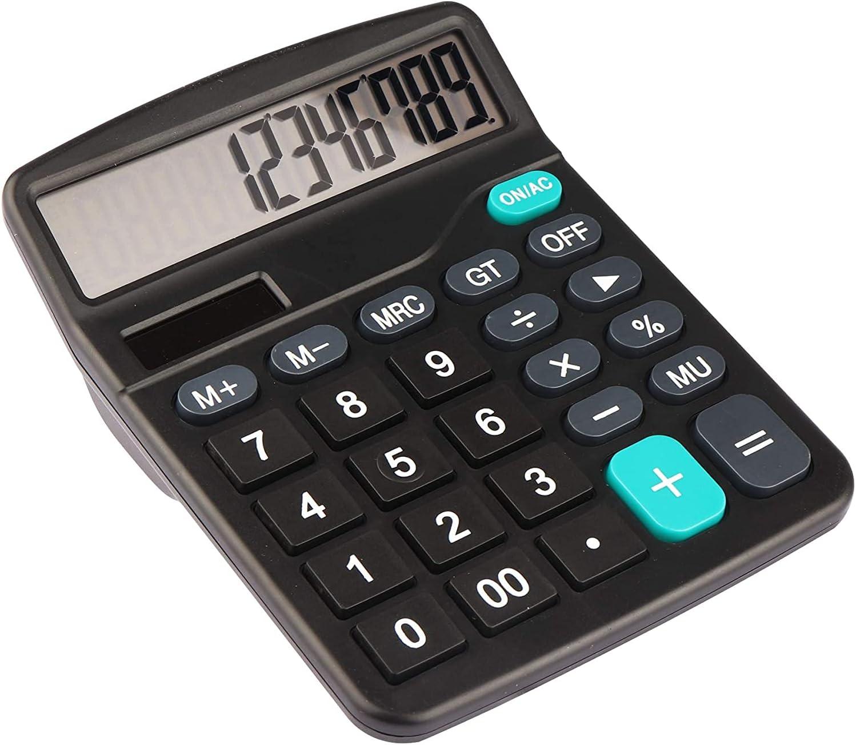 Calculator, Standard Function Electronics Calculator, 12 Digit Large LCD Display,Solar Battery Desktop Calculator Office Calculator,Black