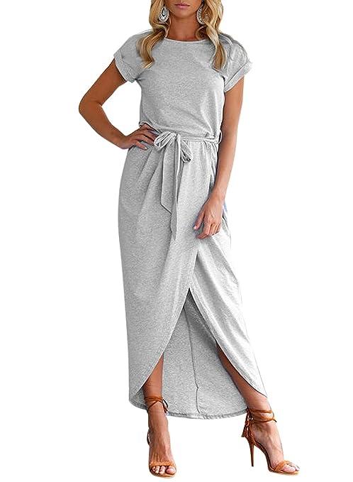 ACHICGIRL Mujer Maxi Vestido Abertura Alta con Mangas Cortas con Cinturón: Amazon.es: Ropa y accesorios