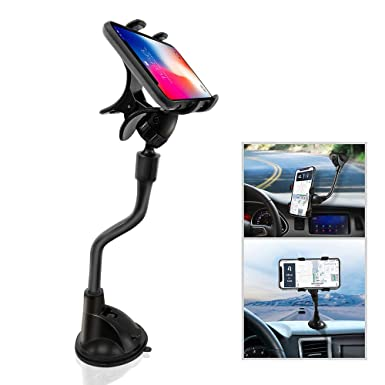 838afae402e80a Ipow Upgrade Suction Cup Dashboard Phone Holder Windshield Car Mount Cradle  with Strong Gooseneck X-Shaped Double Clamp Compatible with iPhone X /  8(plus) ...
