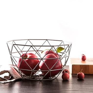 SuperB2C Silver Fruit Basket Countertop Fruit/Vegetable Basket Display Stand Metal Market Basket (Silver)