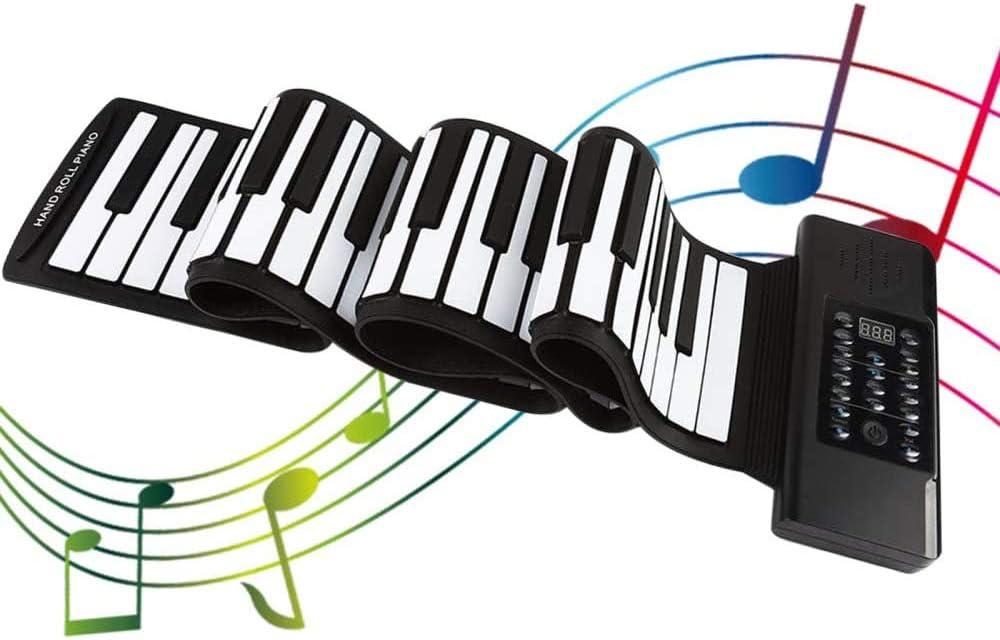 InLoveArts Roll Up Piano Teclado Portátil instrumento musical,128 sonidos excelentes, 128 ritmos, potencia dual, teclado de piano electrónico ...