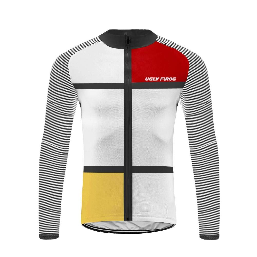 Uglyfrog Fahrradtrikot Winter Langarm Thermo Radtrikot Pro/Windstopper/Atmungsaktiv/Wasserabweisend/Reflektoren/Full Zip/Fleece Warm