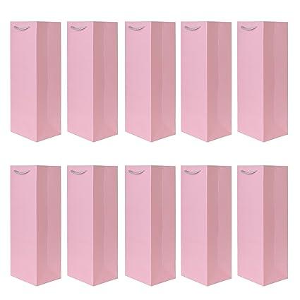 Paquete de 10 pieces de bolsos de la botella bolsos de regalo rosa ...
