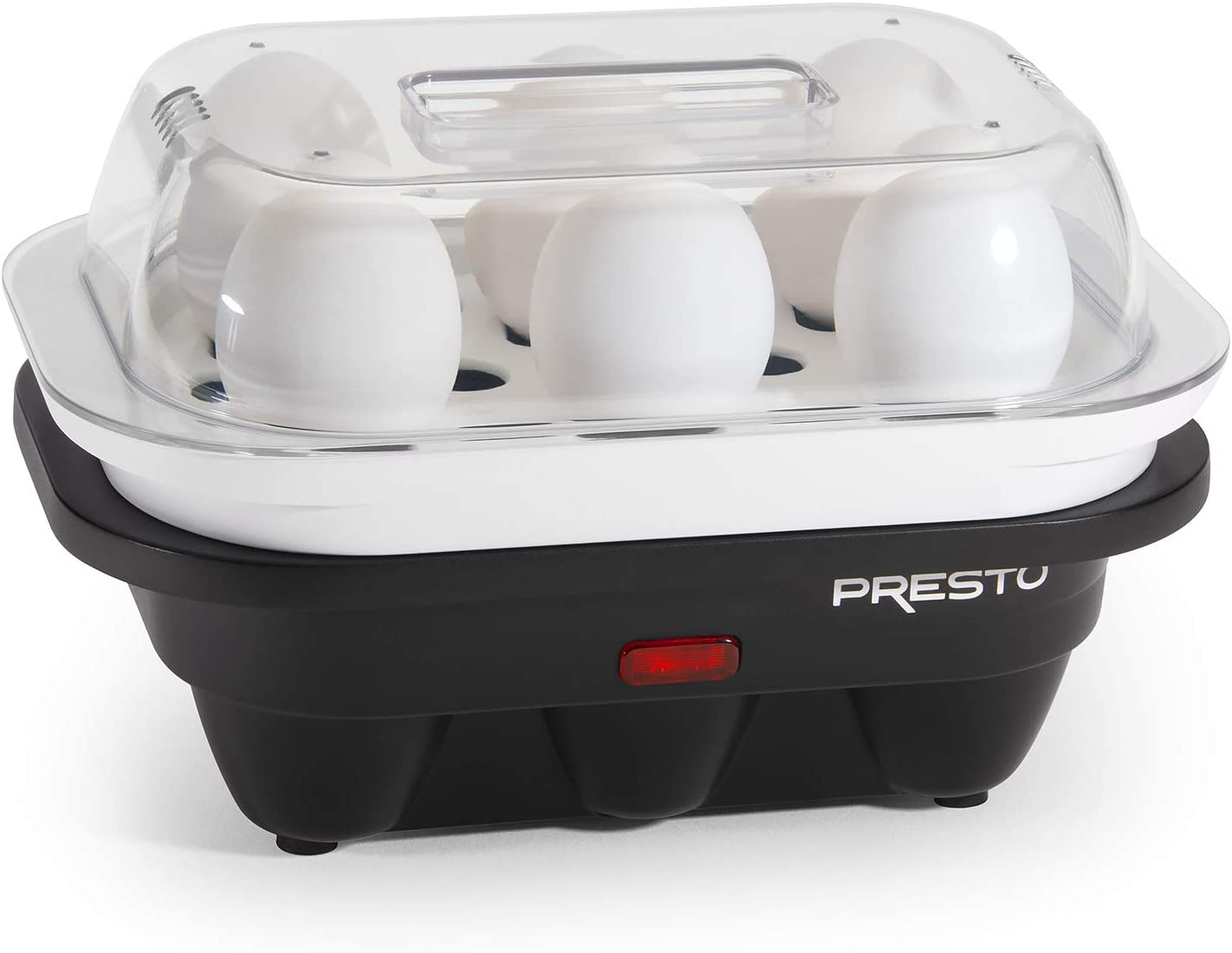 National Presto 04632 Electric Egg Cooker, 6, Black and White