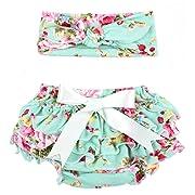 Toptim Baby Girl's Bloomer + Headband Set Toddler Ruffled Pants Diaper Cover Green S