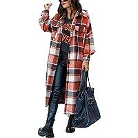 ASKSA Dames geruit lange hemdjas blouse zakken knopen lange mouwen oversized mantel jas houten hakkersjas mode boyfriend…