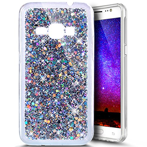 PHEZEN for Samsung Galaxy Express 3 Case, Galaxy Luna/Amp 2 / J1 2016 Case, Shiny Sparkling Hexagonal Star Bling Glitter Flexible Soft Rubber Gel Clear TPU Case Silicone Back Case (Silver)