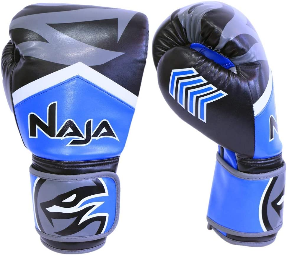 Naja Extreme Pro Grade Boxing Gloves, Kickboxing Bagwork Gel Sparring Training, Muay Thai Style Punching, Fight Gloves