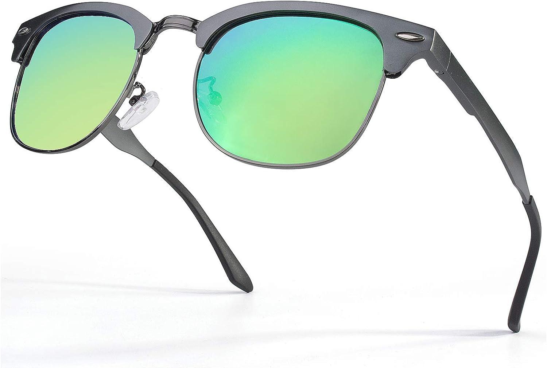 GQUEEN Hommes Retro Al-Mg Frame lunettes de soleil polarisées UV400 Protection MS0 2 Gris Vert