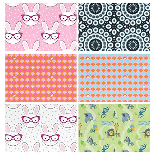 - YOULUCK-7 Placemats Set of 6, Hipster Bunny Indigo Circles Hide and Seek Bunnies Zoo Dining Table Mats for Home Kitchen Office