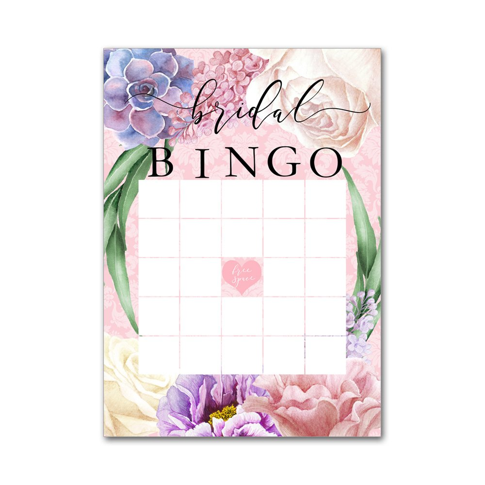 Bingo Game Cards for Bridal Wedding Showers with Watercolor Pink Spring Mix Lilacs Roses Flowers BBG8043