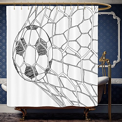 Wanranhome Custom-made shower curtain Sports Decor Set Soccer Ball In Net Goaly Position Sports Competition Spectators Hand Drawn Style Print Black White For Bathroom Decoration 60 x 72 - John Lewis Net Curtains