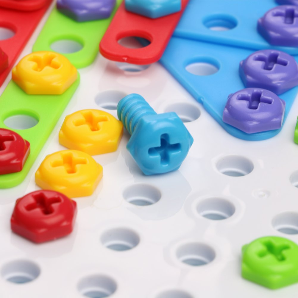 Jeu De Construction Mosaique Jouet Assemblage Puzzle Blocs 180 Pcs Enfant Fille Garcon 3 Ans 4 Ans 5 Ans Jeux Educatifs Et Scientifiques Jouets D Activite Et De Developpement