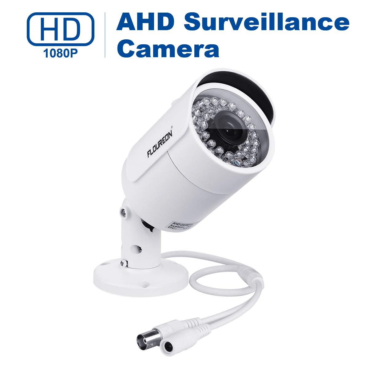 FLOUREON House Security Camera 1080P AHD CCTV DVR Bullet Camera, Outdoor IP66 Waterproof Camera Surveillance Security with Long Distance Day &Night Vision (White)
