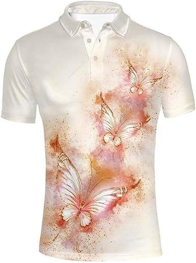 Camisas para Hombre Verano Solapa Manga Corta Camiseta Tops ...
