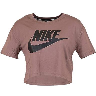 9811e9c782539 Nike - T-Shirt de Sport - Col Rond - Femme - Marron - X-Small ...
