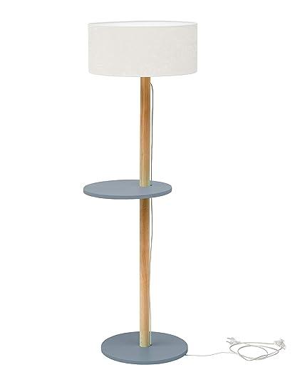 UFO Holz Stehlampe mit Regal, Moderner Skandinavischer Stil ...