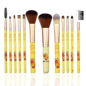 b887c9caa Amazon.com: YINUO 12 Pcs Cute Cartoon Line Town Yellow Duck Hello Kitty  Makeup Brush Set,Foundation Blush Eyebrow Eyeliner Cosmetic Brushes for  Women Girls ...