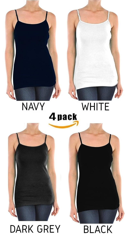 4 Pack: Unibody Apparel Womens Soft Cotton Stretchy Camisoles Tank Top S-XXXL