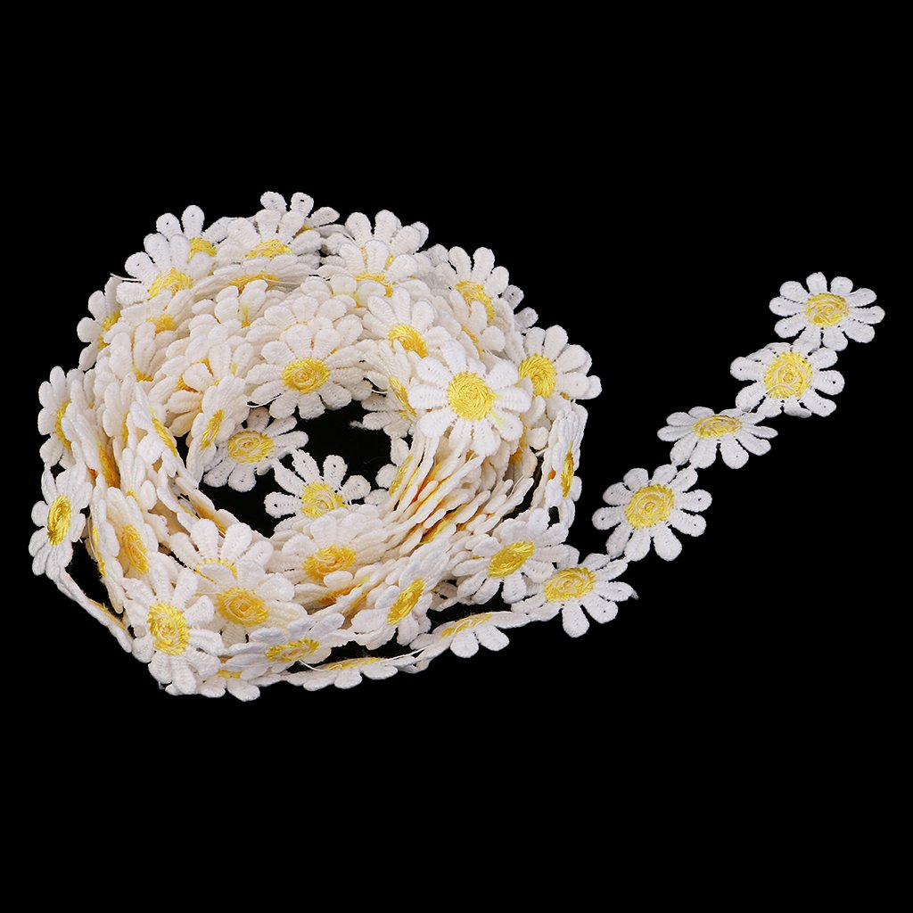 Yellow 7 Yards Daisy Flower Lace Trim Embroidered Lace Applique Ribbon Fabric for Sewing DIY Handcraft Wedding Costume Hat Decoration