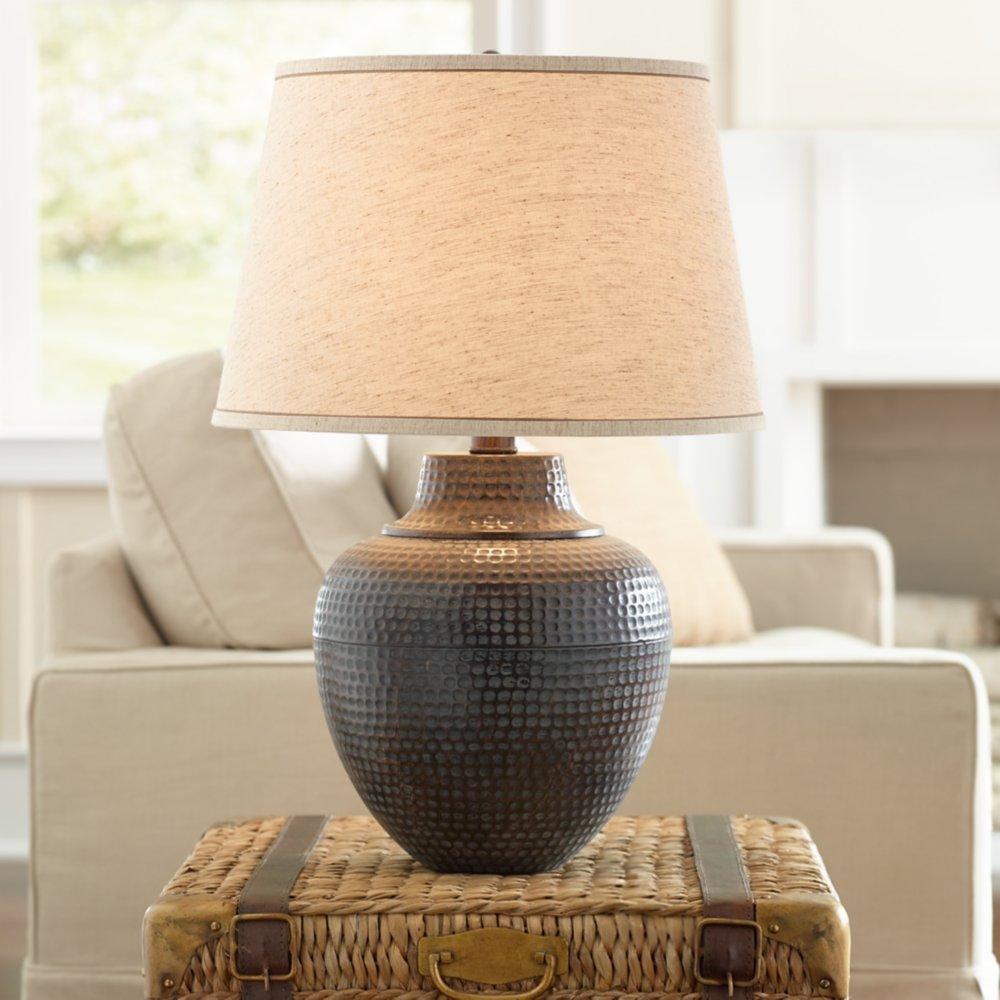 Brighton Hammered Pot Bronze Table Lamp Amazoncom