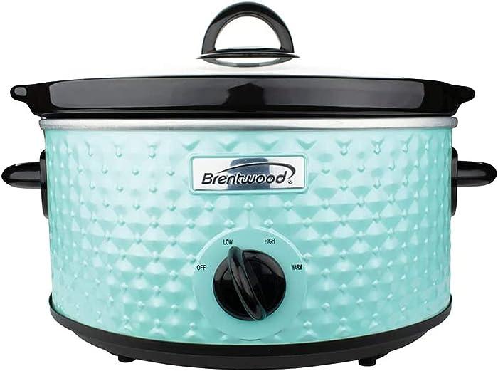Brentwood SC-136BL 3.5 Quart Adjustable Temperature Dishwasher Safe Kitchen Slow Cooker Pot with Clear Glass Lid, Blue Diamond Pattern