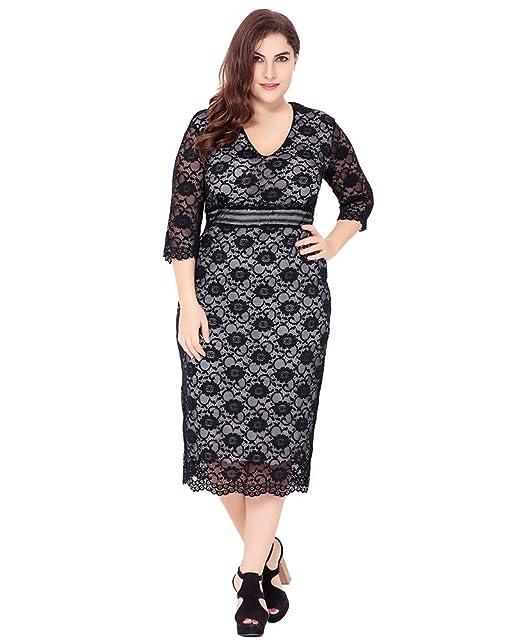 YiJee Mujer Talla Grande Cuello en V Vestido Encaje Manga Larga Vestidos Falda Lápiz Negro 6XL