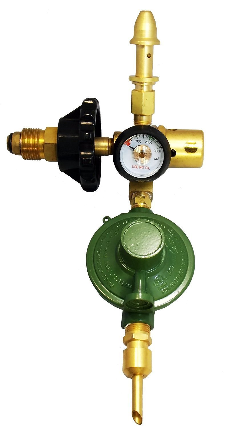 Mylar E2802HT-DV6040 Balloon Helium Filler Inflator Regulator New - Auto Shut off Valve, Hand Tight Connection (Brass Body)