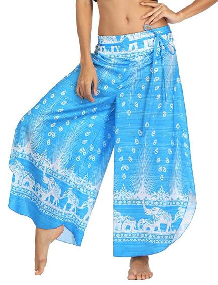 YYear Women Sports Loose Fit Casual Yoga Print Wide Leg Palazzo Lounge Pants
