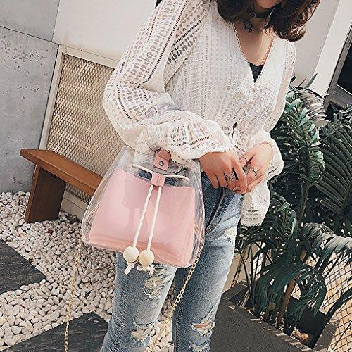 Bags Pink Transparent PVC Chain Bag Handbag Cosmetic Pink Tote Women's JAGENIE Shoulder Beach qvacSwvPZ6