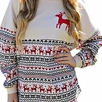 Koly blusas de mujer invierno ropa de mujer en oferta otoño camisetas manga larga mujer deporte de moda 2017 Christmas elegantes sudaderas baratas floral casual sudadera sin capucha (S, Colourful)