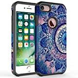 iPhone 6S Case, iPhone 6 Case, Kaesar [Slim Fit] [Shock Absorption] Hybrid Dual Layer Shockproof Hard Cover Graphic Fashion Cute Colorful Silicone Skin Case for Apple iPhone 6 / 6S - Mandala