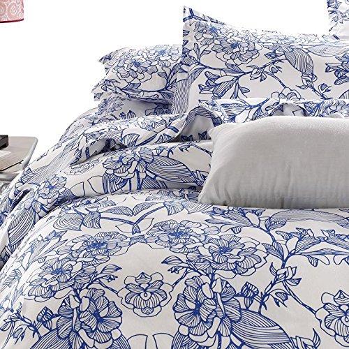 Vaulia Lightweight Microfiber Duvet Cover Set Blue Floral