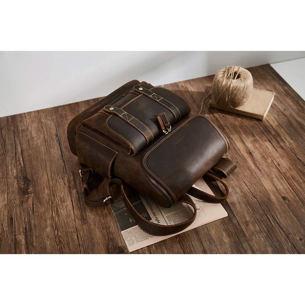 BOSTANTEN Leather Backpack 15.6 inch Laptop Backpack Vintage Travel Office Bag Large Capacity School Shoulder Bag by BOSTANTEN (Image #7)