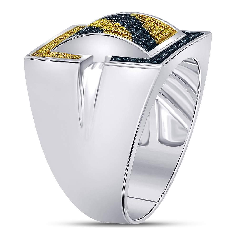 Blue Diamond Mens Cluster Ring Fashion Band Cocktail Style 1//2ct 925 Sterling Silver