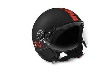 Amazon.es: MOMO Design Momodesign casco jet fgtr, Negro Mate Logo naranja neón, talla M