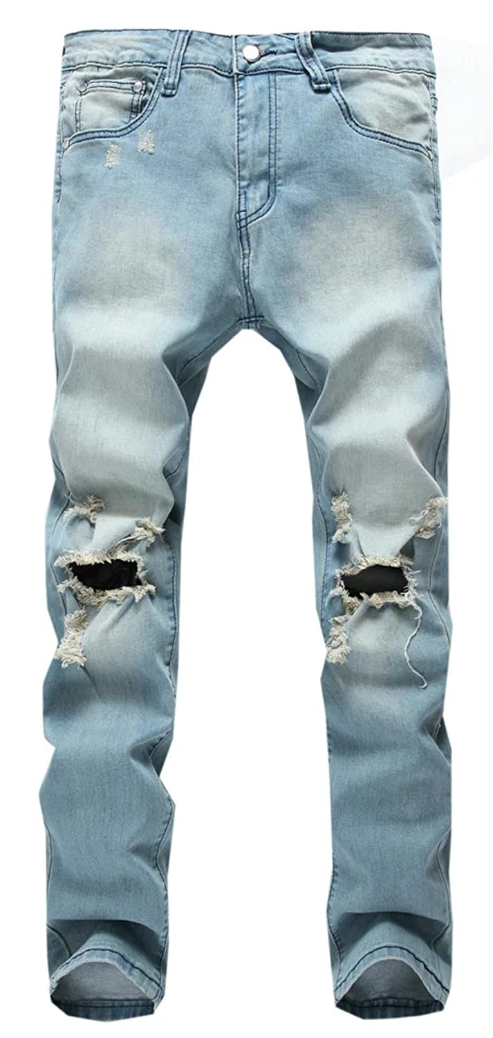 Cameinic Men's Broken Holes Destroyed Knee Ripped Jeans Pants Trousers