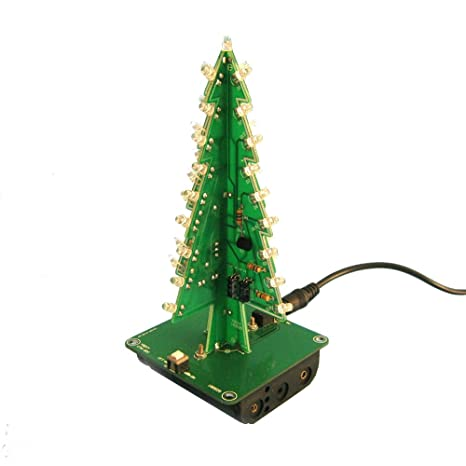 Aideepen 3D Christmas Tree LED Flashing Light DIY Kit 7 Colors LED Flash  Circuit Kit Without