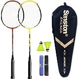 Senston - 2 Player Badminton Racquets Set Double Rackets Carbon Shaft Badminton Racket Set- 1 Carrying Bag Included