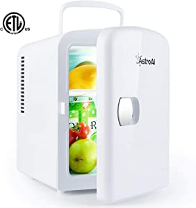 AstroAI Mini Fridge Portable AC/DC Powered Thermoelectric System Cooler and Warmer 4 Liter/6 Can for Cars, Homes, Offices, and Dorms