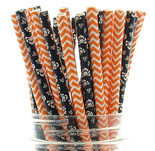Halloween Skeleton Straws, Skull & Crossbones Straws (50 Pack) - Halloween Party Supplies, Pumpkin Orange Chevron & Black Skulls Straws, Halloween Pirate Table -