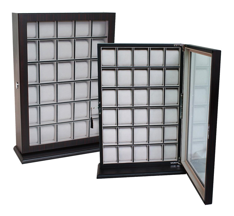 1 A QualitÄt Uhrenbox von Woolux fÜr 30 Uhren aus Holz mit Sichtfenster aus Echtglas fÜr Wand Farbe Ebenholz