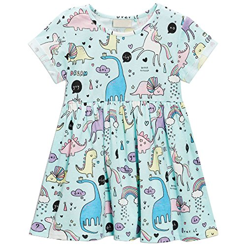 Girls Dresses Cartoon Print Cotton Summer Tunic Dress With Short Sleeve (4T,Cartoon-Unicorn)